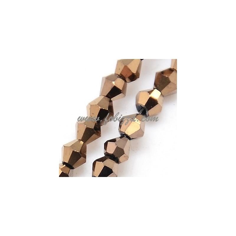 100 κομ/τια, Γυάλινη χάντρα με πλήρη επιμετάλλωση, Πολύπλευρη, Δίκωνη, Χρυσό, 3x3 χιλ, Τρυπα: 1χιλ