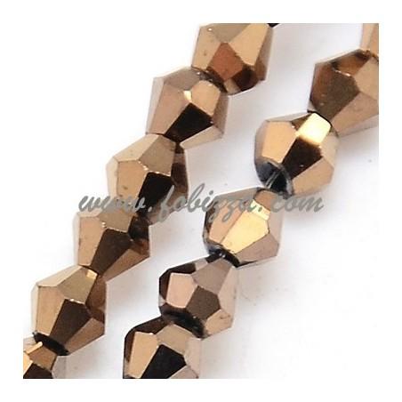 100 τεμ, 3x3 χλστ, Τρυπα: 1 χλστ, Γυάλινη χάντρα με πλήρη επιμετάλλωση, Πολύπλευρη, Δίκωνη, Χρυσό