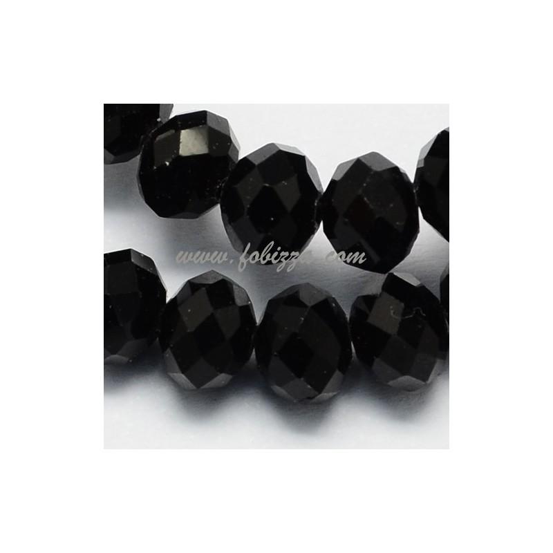 Γυάλινες Χάντρες πολύπλευρες, Άβακας, Μαύρο, 12χιλ σε διάμετρο, πάχους 8χιλ, τρύπα: 1χιλ