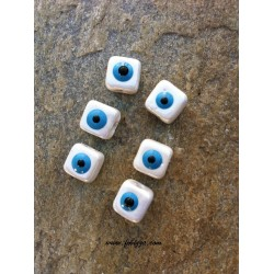 2 τεμ, 10x3 χλστ, Τρύπα: 4 χλστ, Κεραμικές Χάντρες, Ματακι, Τετράγωνο, Άσπρο Μπλε