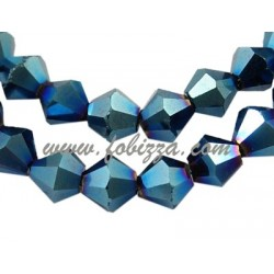 Electroplate Glass Strands, Bicone, Blue Plated, bead: 8mm in diameter, hole: 1mm