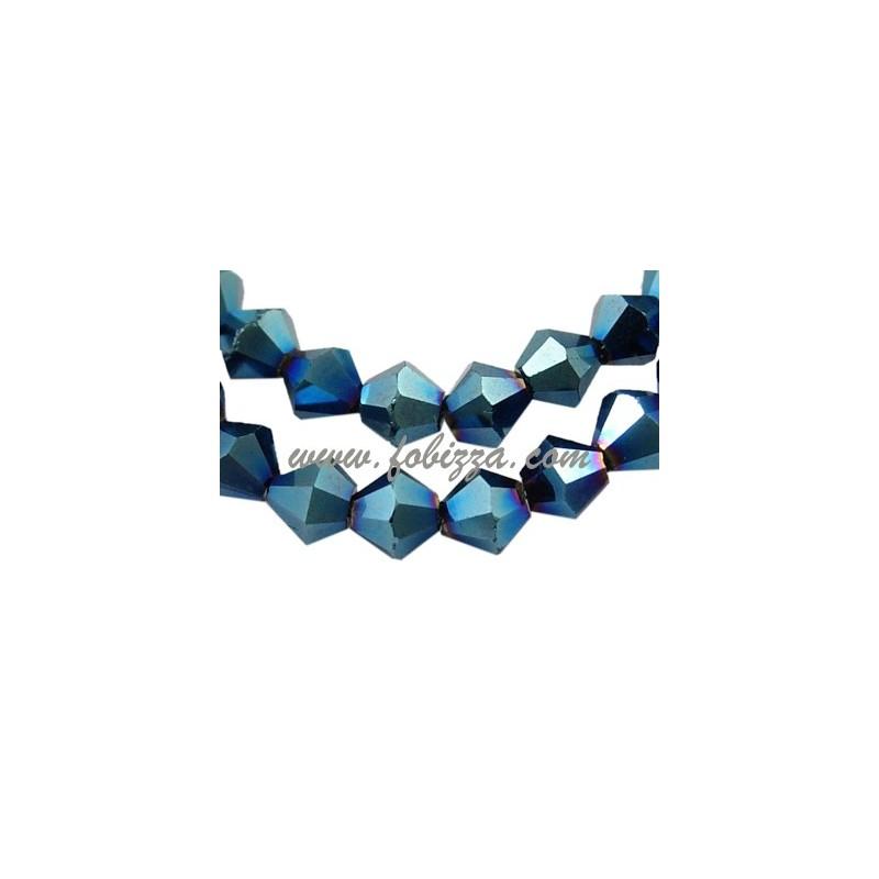 Γυάλινος Χαντρες με ηλεκτρόλυση, Διπλού Κώνου, Μπλέ μεταλλικό χρώμα, Μέγεθος: διαμέτρου 8 χιλ. τρύπα: 1χιλ