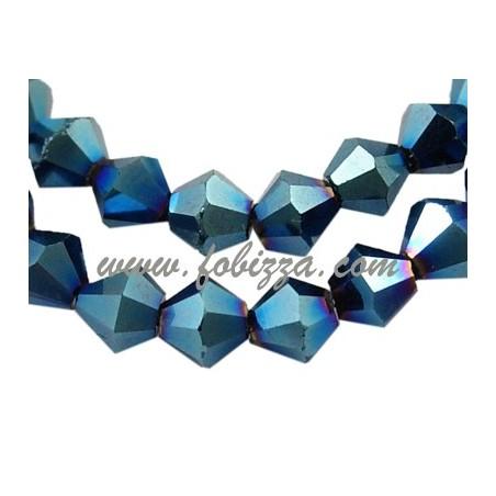 35 τεμ, 8 χλστ. διαμέτρου, τρύπα: 1χλστ, Γυάλινος Χαντρες με ηλεκτρόλυση, Διπλού Κώνου, Μπλέ μεταλλικό χρώμα