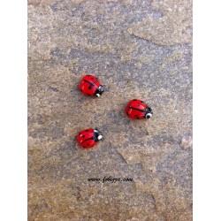 5 τεμ, 13x10 χλστ, Τρύπα: 2 χλστ, Μουράνο,  Πασχαλίτσες, Κόκκινο-Μαύρο