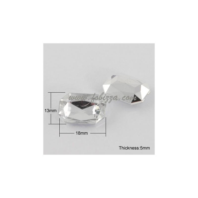 10 τεμ, 18x13x5mm, Χωρίς Τρύπα, Ακρυλικό Τεχνητό Διαμάντι Καμπουσόν, Πολύπλευρo, Ορθογώνιο, Διαφανές