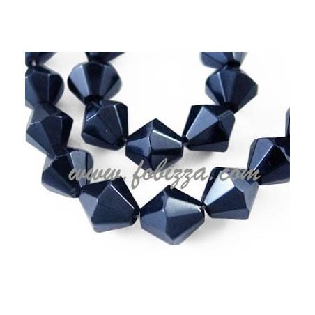 35 τεμ, 8 χλστ σε διάμετρο, τρύπα: 1 χλστ, Γυάλινες Χάντρες Διπλού Κώνου, Μαύρο Περλέ Επιμεταλλωμένο