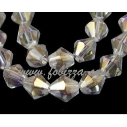 Glass Beads Strands, Bicone, Clear, AB Color Plate, Size: 8mm in diameter, hole: 1mm