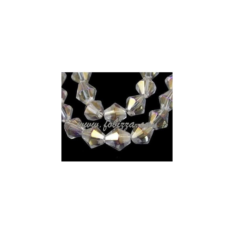 Γυάλινες Χάντρες Διπλού Κώνου, Καθαρο, ΑΒ Χρώμα Επίστρωσης, Μέγεθος: 8 χιλ. σε διάμετρο, τρύπα: 1χιλ