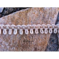 1 μετρο, 15 χλστ., Βαμβακερό Πλεκτό Σχοινί με Κροσσι Συνδέσμους, Κρεμ