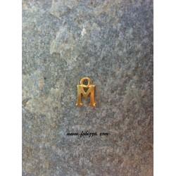 """2 τεμ, 12x10 χλστ, Μεταλλικά Γράμματα με 1 Σύνδεσμο, """"Μ"""", Χρυσό"""