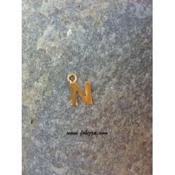 """2 τεμ, 12x10 χλστ, Μεταλλικά Γράμματα με 1 Σύνδεσμο, """"Ν"""", Χρυσό"""
