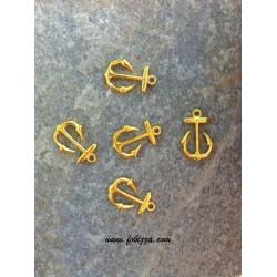2 τεμ, 23x15 χλστ, Μεταλλικά, Άγκυρα, 1 Σύνδεσμο, Χρυσό