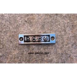 """1 τεμ, 15x9 χλστ, Μεταλλικό, Λέξη σε Ορθογωνιο με 2 Συνδέσμους, """"Hope"""", Ασημί Αντίκας"""