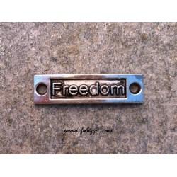 """1 τεμ, 15x9 χλστ, Μεταλλικό, Λέξη σε Ορθογωνιο με 2 Συνδέσμους, """"Freedom"""", Ασημί Αντίκας"""