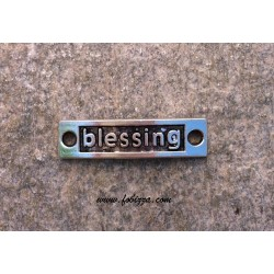 """1 τεμ, 15x9 χλστ, Μεταλλικό, Λέξη σε Ορθογωνιο με 2 Συνδέσμους, """"Blessing"""", Ασημί Αντίκας"""