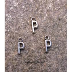 """2 τεμ, 16x6 χλστ, Μεταλλικά Γράμματα  με 1 Σύνδεσμο, """"P"""", Ασημί"""