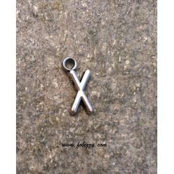"""2 τεμ, 16x6 χλστ, Μεταλλικά Γράμματα με 1 Σύνδεσμο, """"X"""", Ασημί"""