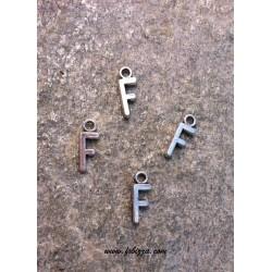 """2 τεμ, 16x6 χλστ, Μεταλλικά Γράμματα  με 1 Σύνδεσμο, """"F"""", Ασημί"""
