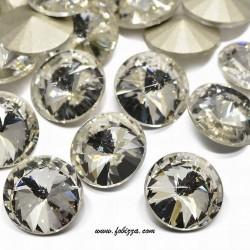 2 τεμ, 16x7,5 χλστ, Χωρίς Τρύπα, Γυάλινο Τεχνητό Διαμάντι Καμπουσόν, Πολύπλευρo, Στρογγυλό, Διαφανές
