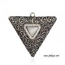1 τεμ, 72x67x11χλστ, Τρύπα: 5 χλστ, Κράμα με Κρύσταλλα, Τρίγωνο, Μεγάλο Μέγεθος, Ασημί Αντίκας