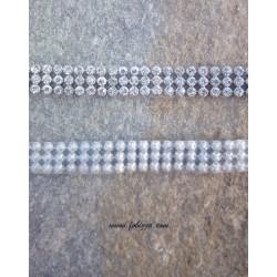 50 εκατ., 10 χλστ πάχος, Πλέγμα απο Χαλκό, Τεχνητά Κρύσταλλα και Hotfix, 3 Σειρές Cup Αλυσίδα, Ασημί βάση, Διαφανές