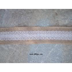 1 μετρο, 50 χλστ πλάτος, Λινή Φυσική Κορδέλα με Λευκή Δανδέρα, Μπεζ