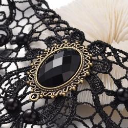 Κολιέ σε Gothic στυλ από Δαντέλα με ευρήματα Χαλκού και Ρητίνης, Μαύρο