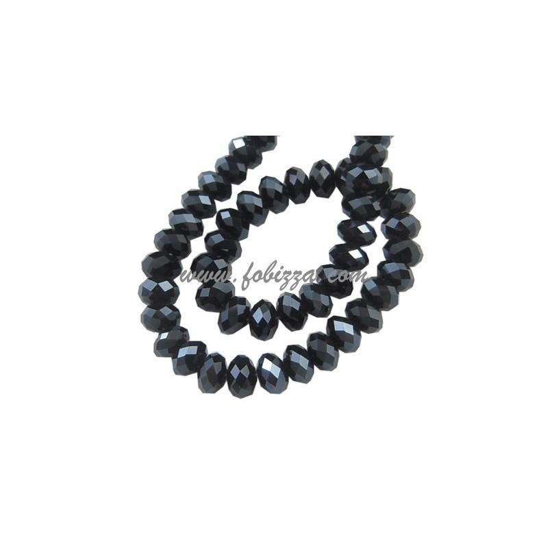 35 τεμ, 8x6 χλστ, Τρύπα: 1 χλστ, Γυάλινες χάντρες περλέ επιμεταλλωμένες, Πολύπλευρη Abacus, Μαύρο