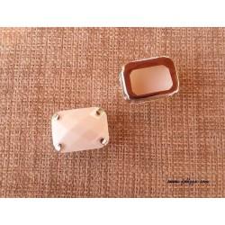 1 τεμ, 8x7 χλστ,7  χλστ τρύπα, Ακρυλικες τεχνητές Χάντρες Στρογγυλές, Λευκό , Πίσω μερος  Χαλκό