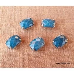 1 τεμ, 20x15 χλστ, Ακρυλικες τεχνητές Χάντρες Ορθογώνιο,Γαλάζιο , Πίσω μερος  Χαλκό
