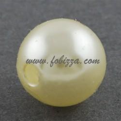 100 τεμ, 8 χλστ διάμετρος, 2 χλστ τρύπα, Ακρυλική Χάνδρα, Απομίμηση Μαργαριταριού, Ανοιχτό Κίτρινο