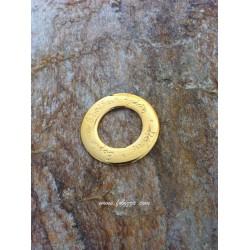 """1 τεμ, 38 χλστ, Γούρι από Ορείχαλκο, Πλατύς Κρίκος με Κείμενο """"Τύχη, Πίστη, Ελπίδα, Αγάπη"""", Χρυσό"""