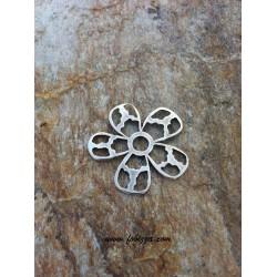 1 τεμ, 40 χλστ διάμετρος, Μεταλλικός, Λουλούδι, Ασημί