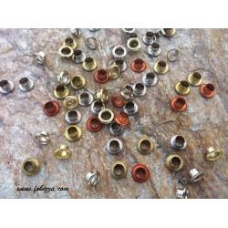 30 τεμ, 8x4 χλστ, Μεταλλικά Δαχτυλίδια Σωλήνας από Χαλκό, Πριτσίνια για Δέρμα, Μιξ Χρώμα