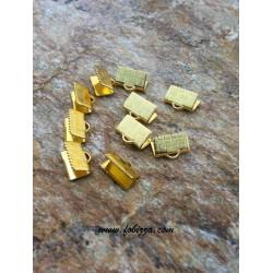 10 τεμ, 10x7 χλστ, Συνδετικό Δέρματος από Χαλκό, Χρυσό
