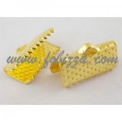 10 τεμ, 13x7x5 χλστ, Τρύπα: 2 χλστ, Συνδετικό Κορδέλας από Σίδηρο,  Χρυσό Χρώμα