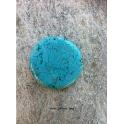 1 τεμ, 40 χλστ, Φυσικό Τυρκουάζ, Ημιπολύτιμος Λίθος, Στρογγυλό,  Τυρκουάζ