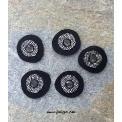 1 τεμ, 35 χλστ, Χειροποίητο Δερμάτινο Μάτι, Μαύρο και Ασημί