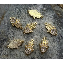 1 τεμ, 31x18 χλστ,  Κράμα με Κρύσταλλα, Χεράκι Hamsa με 2 Συνδέσμους, Χρυσό