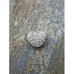 1 τεμ, 25x22 χλστ, Κράμα με Κρύσταλλα, Καρδιά, 8 Συνδέσμους, Ασημί