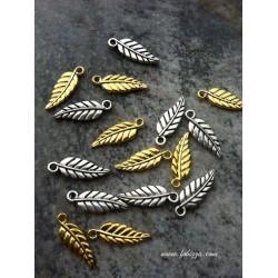 5 τεμ, 20x6 χλστ, Ορείχαλκος, Ραβδωτή Επιφάνεια, Φύλλο, Χρυσό και Ασημί