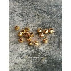 10 τεμ, 5x4 χλστ, Μεταλλικές Χάντρα, Κώνος, σε Χρυσό και Ασημί