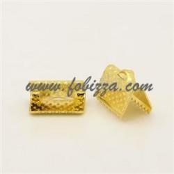 10 τεμ, 10x7x5 χλστ, Τρύπα: 2 χλστ, Συνδετικό Κορδέλας από Σίδηρο, Χρυσό Χρώμα