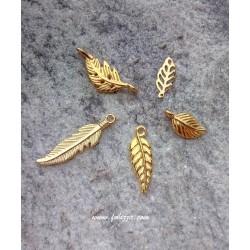 6 τεμ, 26-14x10-6 χλστ, Φύλλα απο Χαλκό, Μιξ Σχήμα, Χρυσό