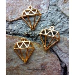 2 τεμ, 16x15 χλστ, Χαλκός, Μεταλλικά Διαμάντια σε Χρυσό και Ασημί