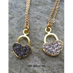 1τεμ, 18x12 χλστ, Τρύπα: 2 χλστ, Μεταλλικό  με Κρύσταλλα, Καρδιά Λουκετάκι, Χρυσό με Διαφανή και Μαύρα Κρυσταλλα