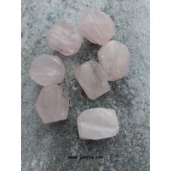 1 τεμ, 20x15 χλστ, Φυσικός Χαλαζίας, Ημιπολύτιμος Λίθος, Χάντρα, Πολύπλευρη, Ροζ