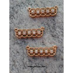 1 τεμ, 25x8 χλστλ, Μεταλλικό με Κρύσταλλα, 2 Συνδέσμους, Κύκλοι, Χρυσό