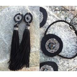 5 ζευγ, 12 μήκος, Σκουλαρίκια με Φουντάκια και Δερμάτινο Ματάκι, Πολυπλευρω Γυάλινο Καμπουσον, Μαύρο