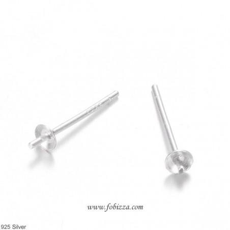 1 ζευγ, 13 χλστ., Ασημένια σκουλαρίκια 925 για Πέρλες με τρύπα στη μια πλευρά, Ασημί